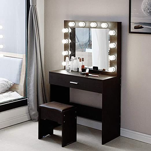 Vanity Set With Lighted Mirror Makeup Dressing Table With 12 Led Bulbs Drawer In 2020 Dressing Table Set Dressing Table Vanity Vanity Table Set