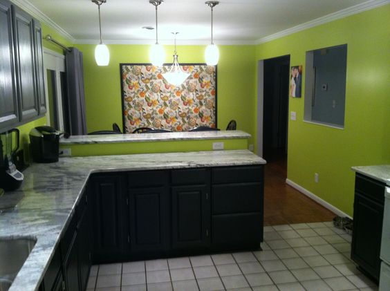 Lime green walls with two tones gray and black cabinets for Lime black kitchens