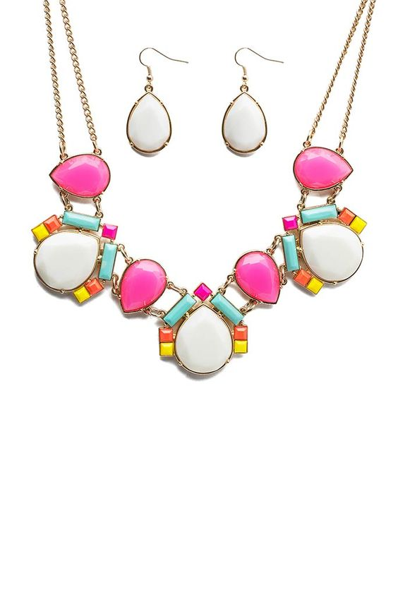 FINAL SALE Bedazzle those last brilliant days of summer in this vibrant choker necklace! Featuring brightly-colored cab stones and an overall Art Deco motif. Gold-polished body and chain. Matching drop earrings included.