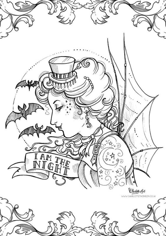 victorian steampunk coloring pages - photo#18