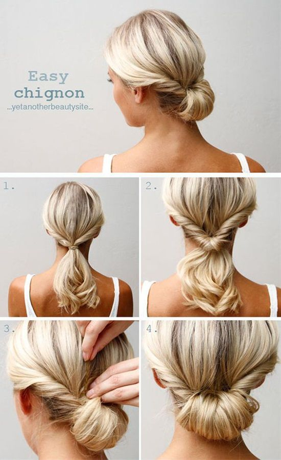 Easy Chignon Hairstyle Chignon Hair Hair Styles Updo Hairstyles Tutorials