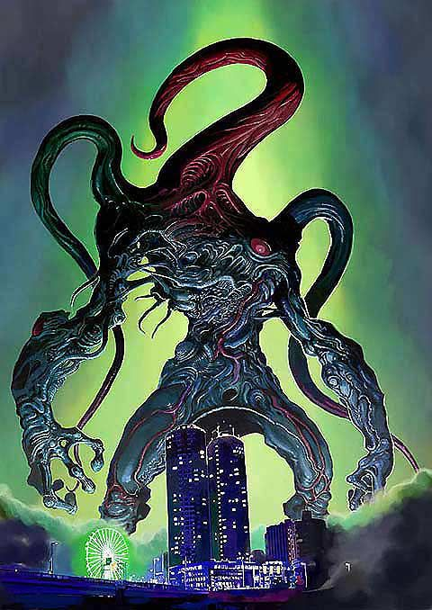 Japanese illustrator Tatsuya Nottsuo blends the Cthulhu Mythos with Japanese kaiju imagery