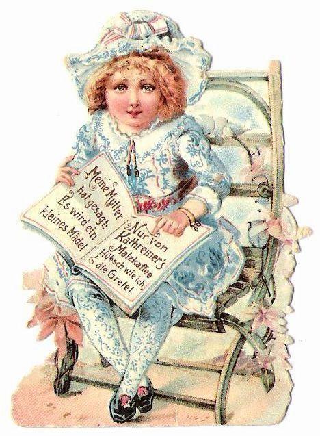 Altes Papier Oblaten Glanzbild Kathreiner s Malzkaffee Werbung um 1900:
