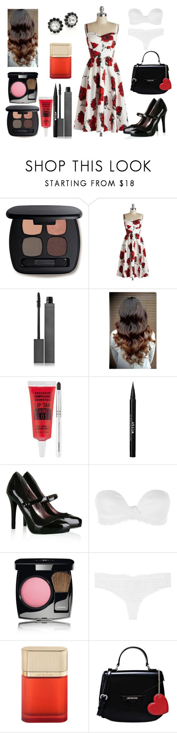 """""""Untitled #671"""" by miss-meghan-elizabeth ❤ liked on Polyvore featuring Bare Escentuals, Stop Staring!, Burberry, Obsessive Compulsive Cosmetics, Stila, Steve Madden, Simone Perele, Chanel, Madame Aime and Cartier"""