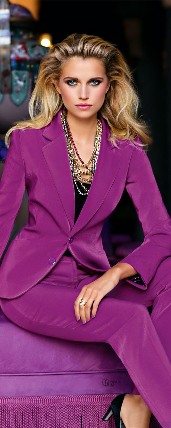 Lot of bright purple, may look better with alternative blazer or pants and not…