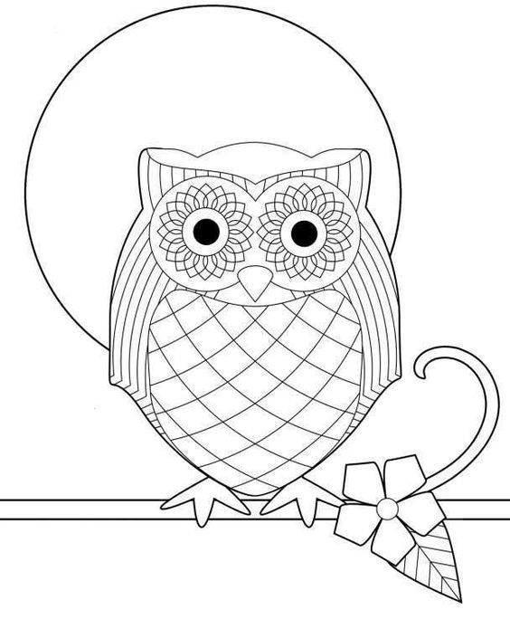 Dibujos geométricos para colorear e imprimir gratis - Búho