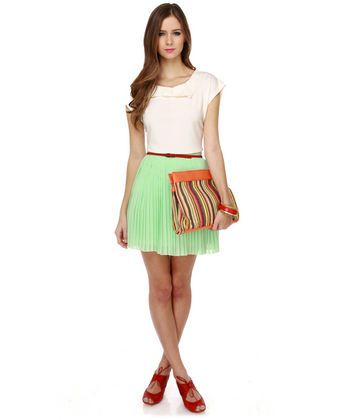 Cute lime green skirt.