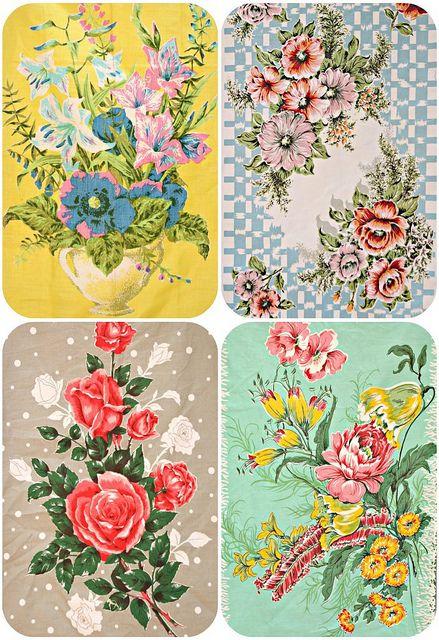 vintage floral teatowels, via Flickr.