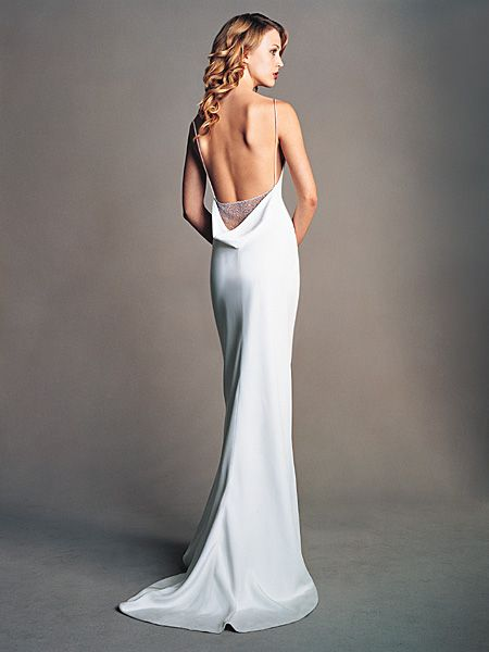 Amsale silk crepe sheath gown no idea what the front for Backless sheath wedding dresses