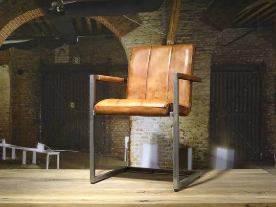 Vienne industriele eetkamerstoel vertical cognac jpg for Leren kuipstoel eetkamer
