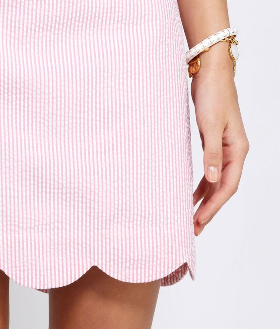 Seersucker Scallop Hem Margo Skirt