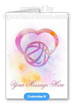 Bright Splatter Basketball Heart Greeting Card by Sports Art Zoo