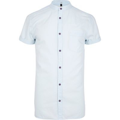 Light blue grandad collar Oxford shirt