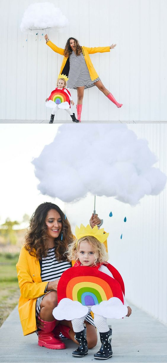 Creative Mom and Kid Halloween Costumes - Rainbow and Cloud: