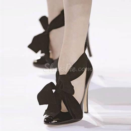 Sexy Black Flowing Ribbon Strapped Stiletto Heels