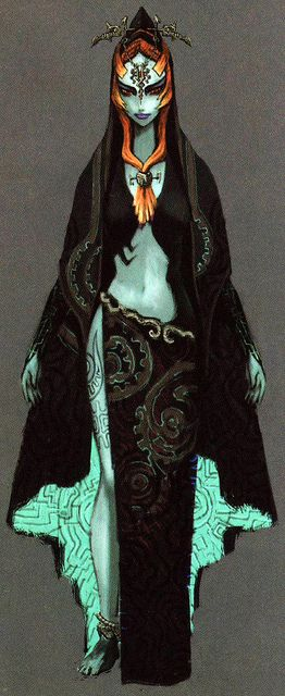 Early Midna concept art (Twilight Princess) Someday I WILL cosplay as her. I would dye my hair red for her too.