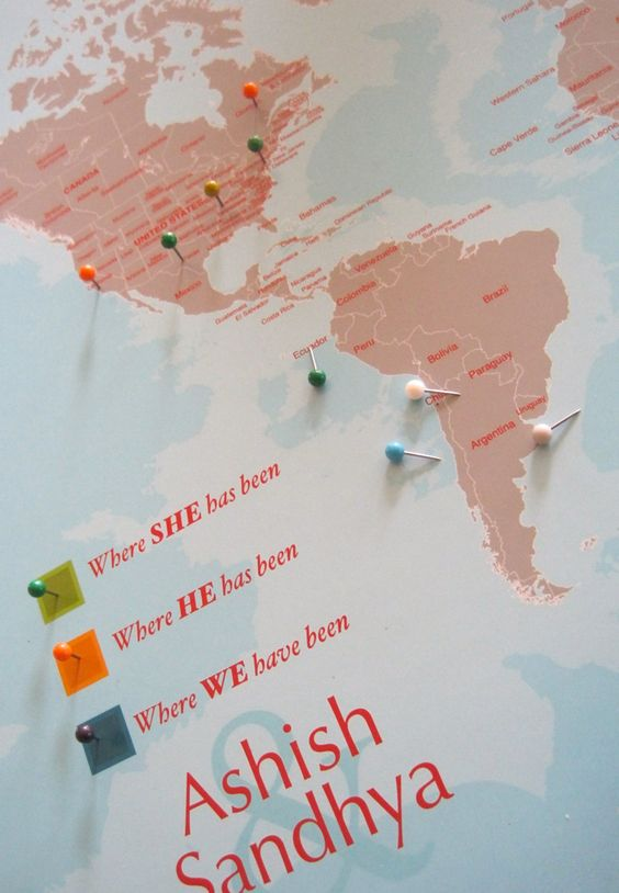 World Map Mounted on Foam Board His and Hers Personal Map 16X20 – Travel World Map With Pins