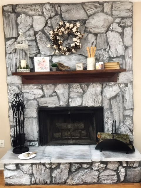 I Graywashed My Fireplace From Brown To A White Washed Gray
