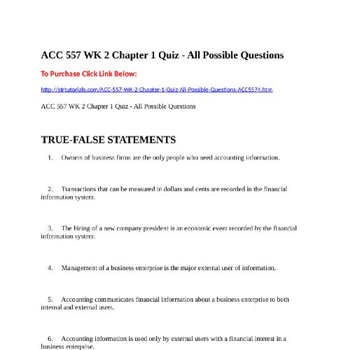 ACC  557 WK 2 Chapter 1 Quiz - All Possible QuestionsTo Purchase Click Link  Below:http://strtutorials.com/ACC-557-WK-2-Chapter-1-Quiz-All-Possible-Questions-ACC5574.htm