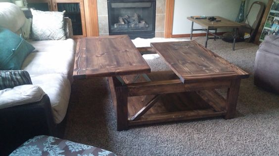 Rustic farm coffee table with pop up side for working or for Coffee tables you can eat on