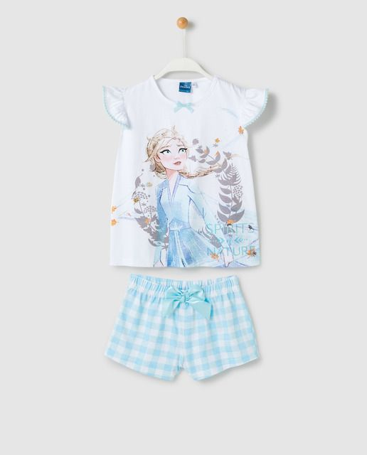 Disney Pijama Corto De Nina Azul Claro Con Dibujo Frozen Dibujos De Frozen Pijama Azul Claro