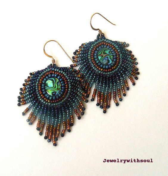 Peacock's Feather Bead Embroidery Earrings