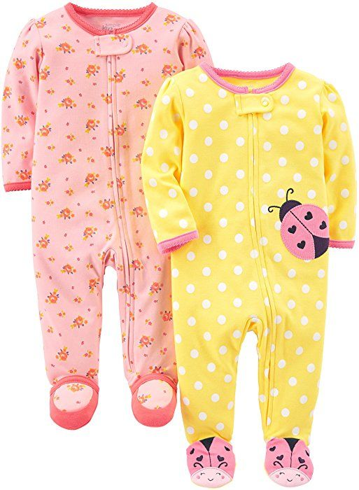 0-3 Months Simple Joys by Carters Baby Girls 2-Pack Cotton Footed Sleep and Play Gray Butterfly//Pink Floral
