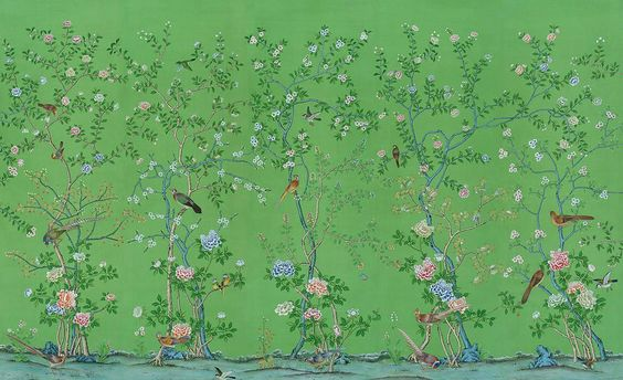 Earlham on Green - hand painted Chinoiserie silk wallpaper by YrMural Studio
