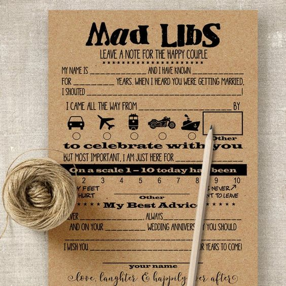 Printable Instant Download Digital Files You Print As Many As You Need Rustic Wedding Games Wedding Mad Libs Bridal Shower Games