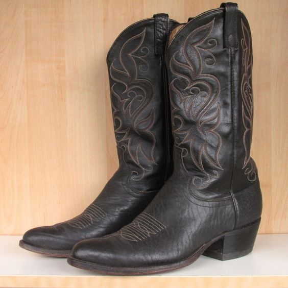 Men&39s Dan Post Black Bullhide All Leather Cowboy Boots Size 10.5 D