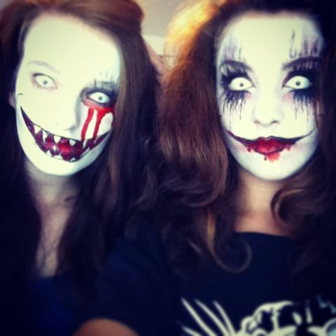 Scary makeup! Did my friends as well! White contact lenses and creepy faces!