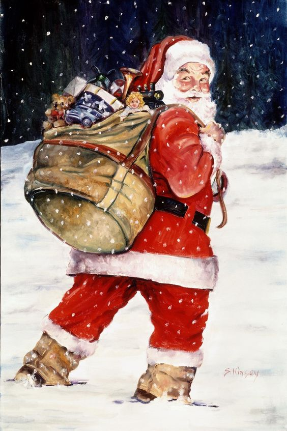 Santa In The Snow Via Etsy Santa Claus Is Coming To