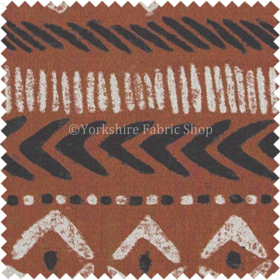 African Tribal Inspired Aztec Pattern Printed Cotton Linen Orange Shade…