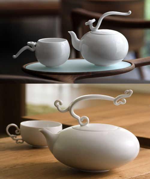 gorgeous tea sets.  Light, ethereal, it manages to be very modern yet very traditional at the same time.