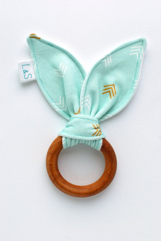 organic wood teething ring by LolaandStella, $12.00