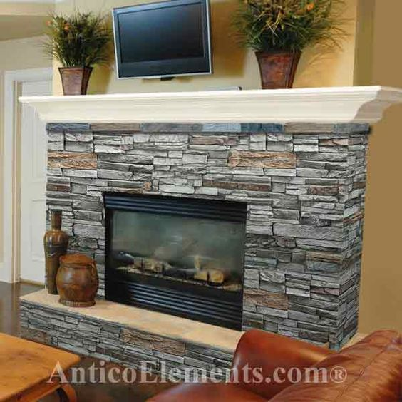 fireplace surround simple mantle raised hearth stone