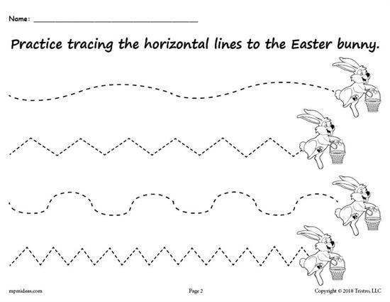 Free Printable Easter Bunny Line Tracing Worksheets With Images