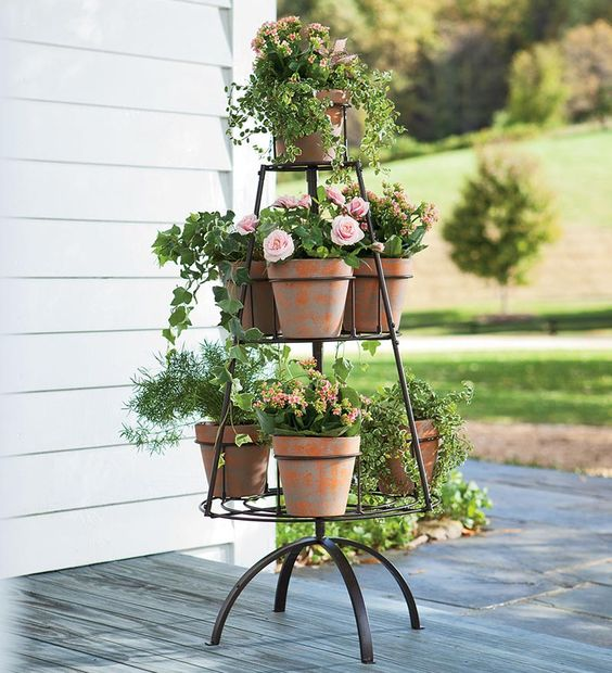 Metal Tree Shaped Plant Stand With Terra Cotta Pots I
