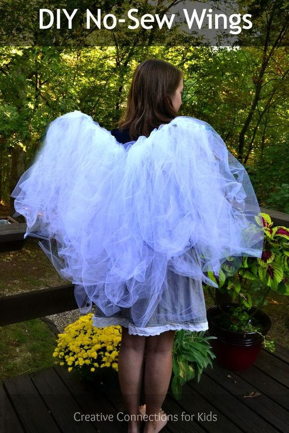 DIY No-Sew Wings (note: I'm trying this for adult size this Halloween, in black with lights!)