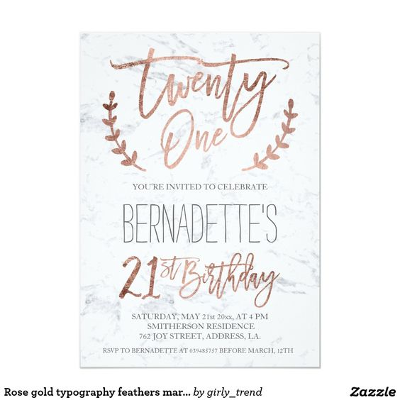 Rose gold typography feathers marble 21st Birthday 5x7 Paper Invitation Card