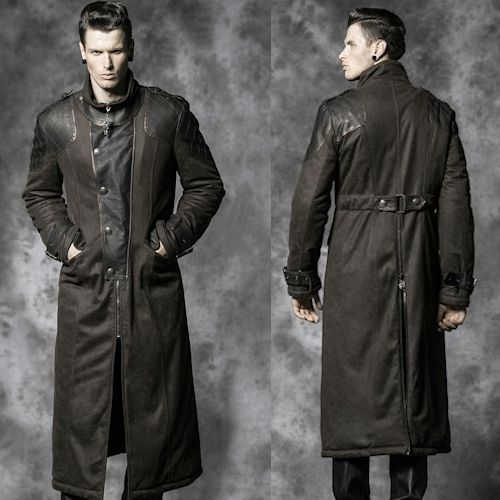 Metallic Dark Brown Leather Goth Military Style Trench Coat