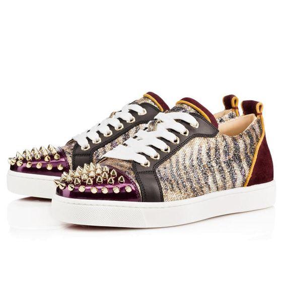 black spiked louis vuitton shoes - Christian Louboutin Louis Junior Spikes Womens Flat Gold Glitter ...