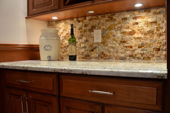: Awesome Brown Stone Backsplash And Simple Under Cabinet Lighting Under  The Wooden Cabinets In Contemporary Kitchen | Pinterest | Lighting Design,  ...