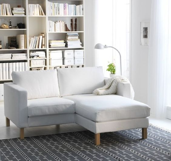L Shaped Simple White Fabric Couches Furniture Design Ideas with Low Style Wood Couches Legs and Comfortable Back Cushions also Double Arm Tops for Small Living Rooms