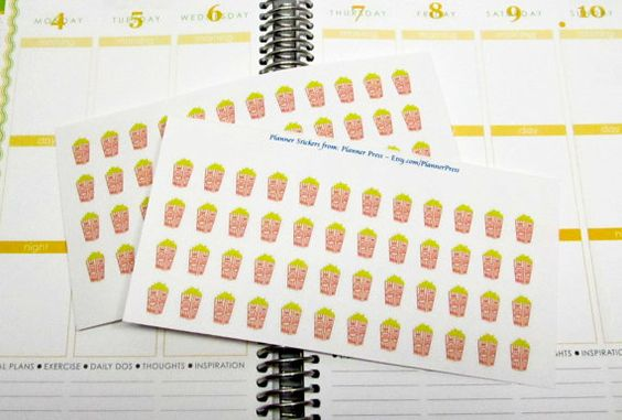 48 Movie Night Popcorn Planning Stickers For Your Ec Life Planner and Plum Planners...