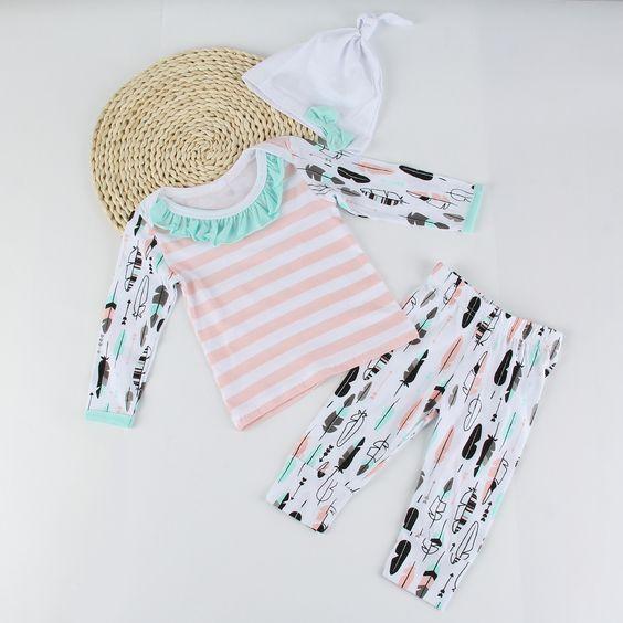 Newborn Baby Girl Ruffled Long Sleeve Shirt+Pants+Bowknot Hat Outfits Set