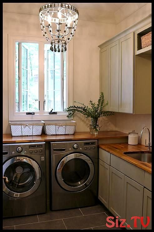 Stunning Gray Cottage Laundry Room Is Equipped With A Silver Front