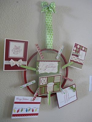 Display your holiday cards, or any cards for that matter with clothespins and an Embroidery Hoop. A Diamond in the Stuff blog shows you how. A Diamond in the Stuff