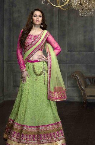 Shop for Green & pink 3-piece lehenga choli @ Rs 8050