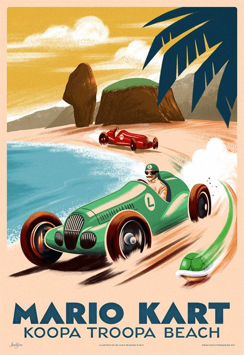 Mario Kart Grand Prix Print Variant Mario Kart Retro Travel Poster Geeky Art